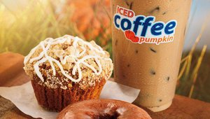 Dunkin' Donuts fall items include New Apple Orchard Donuts and Munchkins, New Apple Crisp Muffin, New Homestyle Apple Pie, Apple Cider, New Pumpkin Cream Cheese and more.