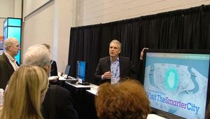 NEC Display Solutions' Keith Yanke showed off one of NEC's show highlights during a day one press briefing.