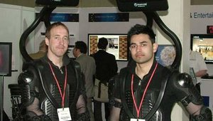 The backpack-mounted displays from SA Screen Media were all over the show floor.
