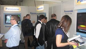 Panasonic's booth was consistently busy with attendees interested in commercial-grade digital signage hardware.