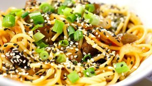 Kitchen 67's signature item is the Sizzle Bowl, which includes a mixture of pan fried noodles, Portabella mushrooms, peppers, onions and sesame seeds with an Asian ginger sauce and the choice of adding Brann's USDA Choice beef or chicken.