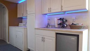LED light strips make excellent under-counter lights in the newly remodeled kitchen.