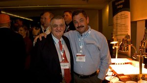 Thomas Dentice (left), co-founder of Tom and Eddie's, met up with Dave Brewer from SpinFresh.
