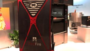 On display in NAFEM's What's Hot, What's Cool product gallery is Remco Industries International's RedFire rotisserie oven. The oven cooks chicken wings and other products without the use of oil and utilizes the company's lightwave technology.