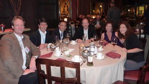 The Summit dinner was held at Roy's. Seated (left to right) are: Mark Peterson (Integrated Control Corp.), Steve Sarver and Clayton Chan (San Francisco Soup Co.), Jeff Carl (Tavistock Group), Linda Duke (Duke Marketing) and Amy Rockmore (BrandStand).