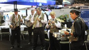 A jazz band entertains CTIA guests but also symbolizes that next year's show will be held in New Orleans.