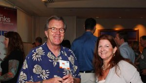 Consultant Rudy Miick shared a moment with Betsy Craig, from MenuTrinfo, at the opening reception.