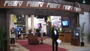 In true Las Vegas style, Fiserv hosted a Texas Hold-em poker table in its booth.