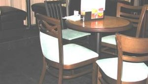 Waymar featured its upholstered chairs and booths as well as solid wood table tops. Chair options include wood or metal chairs in various designs. Booths are designed with custom-engineered seats and high density foam.