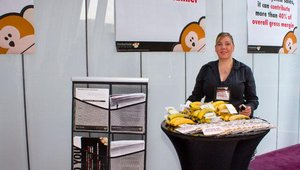 Danielle Wolff represented Platinum sponsor MonkeyMedia software. Outside the session rooms, sponsors set up small exhibits of their wares.