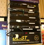Geist Manufacturing brought samples from its enormous catalog of power distribution units, from horizontal and vertical power distribution to switches and mounting hardware.