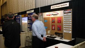 "SmartPower Systems showcased its line of power supplies and accessories, including the SBK/SBP-TBF uninterruptible power supply and the PC Series of power conditioners, which feature brownout and ""prolonged over-voltage"" protection."