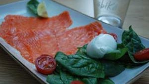 Obikà's mozzarella paired with smoked wild salmon sells for $17. The menu also features organic salads, antipasti and desserts. Fresh mozzarella is shipped to the restaurant from Italy almost every other day.