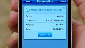 The app responds by pulling up a bank record of the customer's most recent cell phone payment.