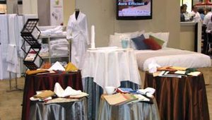 Standard Textile's Hospitality Division displayed its line of linens, napkins and tablecloths. The company offers a line of products that are Room Ready for You laundered with Tide and ready for immediate service.