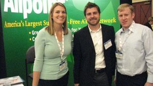 From left are Carolyn Callahan, Justin Upton and Ben Bregman of the Allpoint surcharge-free ATM network, which is now owned by Cardtronics Inc.