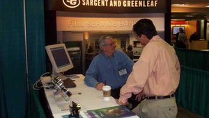 Activity in the Sargent & Greenleaf booth.