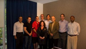 The Fast Casual Industry Council used the occasion for a board meeting. Pictured (from left) are David Wolfgram, Paul Barron, Louis Basile, George Green, Linda Duke, Ed Frechette, Don Fox, Larry Reinstein and Husein Kitabwalla.