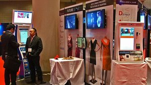 """Lo-K Systems showcased digital signage and kiosks at its """"future of retail"""" booth."""