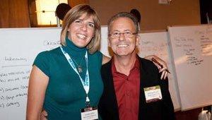Valerie Killifer, senior editor of FastCasual.com, takes a break with Michael Fagan, COO of Duke Marketing.