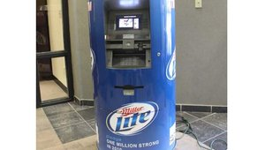 "With help from beer distributor Mike Tramonte of Akron, Ohio, Baker got permission from MillerCoors to use Miller Lite graphics. ""I wish I had a dollar for every person who has had their picture taken next to the ATM,"" said Baker. ""Seriously!"""