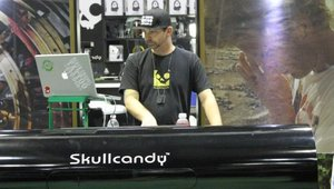 Skullcandy's booth featured DJs who rocked the show all day long.