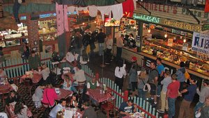 Always a food tour favorite: Portillo's hot dogs. Members of the food tour completed their travels at the eatery where they sampled a variety of hot dogs, ending the meal with chocolate cake.