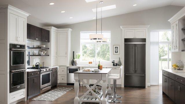 Black stainless steel kitchen appliances