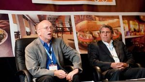 The second session of the day, Culinary Experience for the Innovators, featured panelists Dan Ross from U.S. Foodservice (left) and Phil Costner, COO for la Madeleine French Country Café.