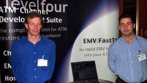 Working hard in the levelfour booth are Allan Knox (left) and Martin Macmillan, CEO.