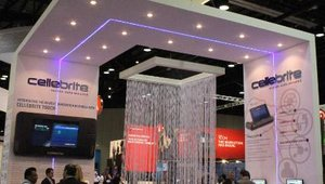 Cellebrite, a mobile content transfer and backup solutions provider, drew in visitors with its large, colorful booth.