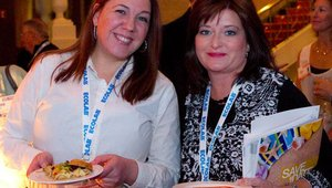From left: Danielle Wolff from Summit Platinum sponsor MonkeyMedia Software and Mary King from Associate sponsor Data Source