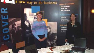Janice Carr (left) and Jacqueline Wall offered welcoming smiles in the ACI booth.