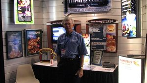Mike Harris from Mainstreet Menu Systems displayed the latest in digital menu board technology.