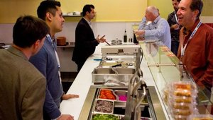 During the tour, I Dream of Falafel founders worked the line and explained the concept to attendees. Menu items include falafel wraps and kabobs in addition to platters that include rice, salads and hummus.