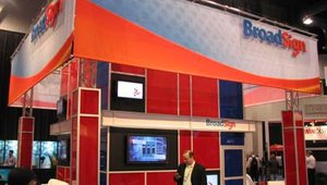 Broadsign again was sporting the largest booth at the show, a two-story monster equipped with an upstairs conference room and leather couches.