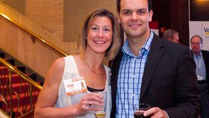 From left: Trish Groom from silver sponsor Splick-It and Charles Causey from gold sponsor People Matter