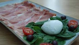 Obikà's menu is centered around varieties of Mozzarella di Bufala Campana DOP (Protected Designation of Origin). Pictured here is the Prosciutto di Parma DOP, which sells for $14.
