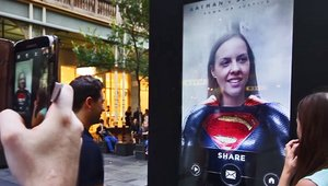 Digital signage transforming ordinary people into superheroes for 'Batman v Superman'