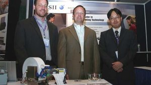 Left to right: Adam Ortleib, John White and Tomohiko Hoshida, from Seiko Instruments.