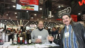 Rodger Ressa from RDP tended bar. John Stephenson, with Sunshine Pizza in Columbus, Ohio, kept him busy.