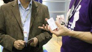 NetWorld Alliance's Jason Ashcraft talks with Mamoon Rashid of Callture Inc. at the MobilePaymentsToday.com booth.