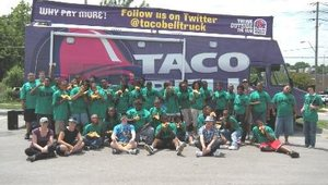 One of Taco Bell's charitable partners is the Boys and Girls Club. Shown here, the Taco Bell Truck stopped at a Kansas City Boys and Girls Club event.