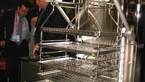 Pitco promoted its Rack Fryer, which can provide consistent cooking for up to 48 pieces of bone-in chicken at a time. Energy-saving features include a self-cleaning burner and a self-contained oil filtration system.