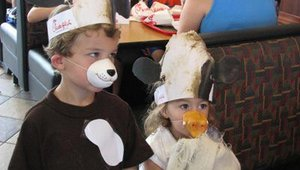 Some customers' cow costumes included only the hat, while others added their own touches. These children found different animal noses to round out the look.