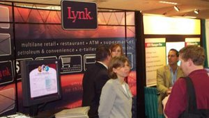 Katie Lefebvre on the front lines in the Lynk booth.