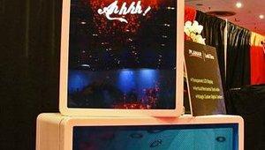 Vislogix showcased translucent digital signage displays for product promotion.