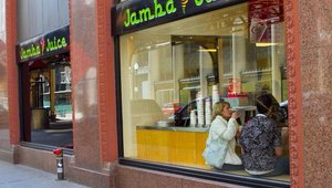 For members of bus No. 2, the second stop featured Jamba Juice.