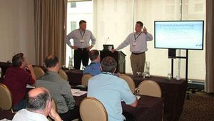 """Monday started with a breakfast spread and some pre-conference workshops. Geoff Goodman, Director of Brand Excellence for CiCi's Pizza, and Matt Loney, president of Stevi B's, guided a session on """"Equipping Franchisees for Success&#46"""