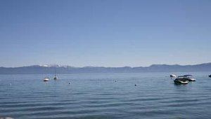 Several boats wait to be boarded at Lake Tahoe's Meeks Bay in California.